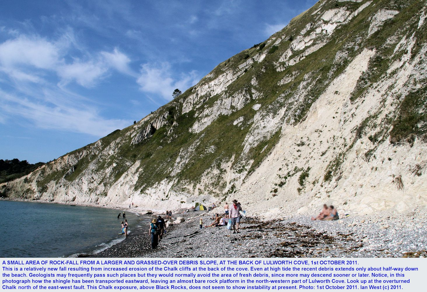 A small but new rock fall of Chalk debris at the back of Lulworth Cove, Dorset, as seen on 1st October 2011