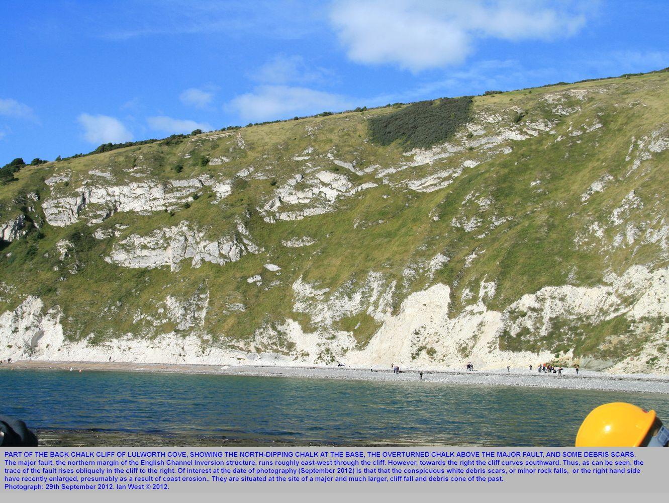 A general view of the back Chalk cliff of Lulworth Cove, Dorset, seen from the shore near Pepler's Point and the Eastern Horn, 29th September 2012, showing the major east-west fault