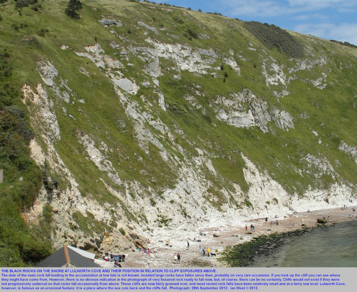 Black Rocks and the apparent source area in the cliffs above the major fault, Lulworth Cove, Dorset, 29th September 2012