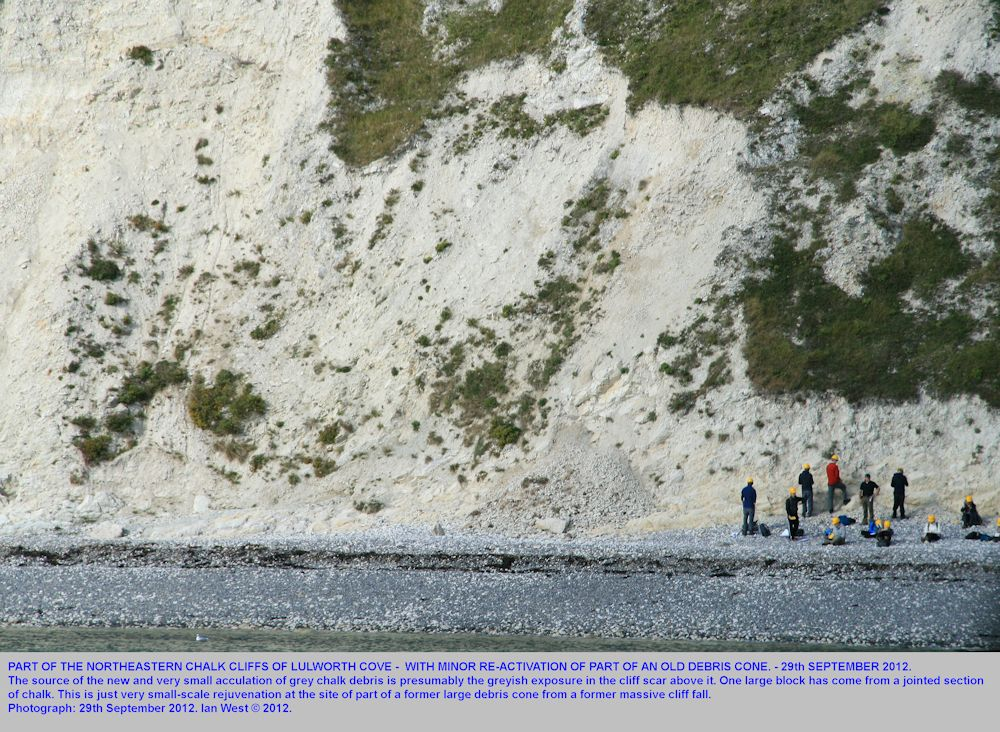 A view of a minor chalk debris fall at Lulworth Cove, Dorset, seen from the shore near the Eastern Horn, 29th September 2012