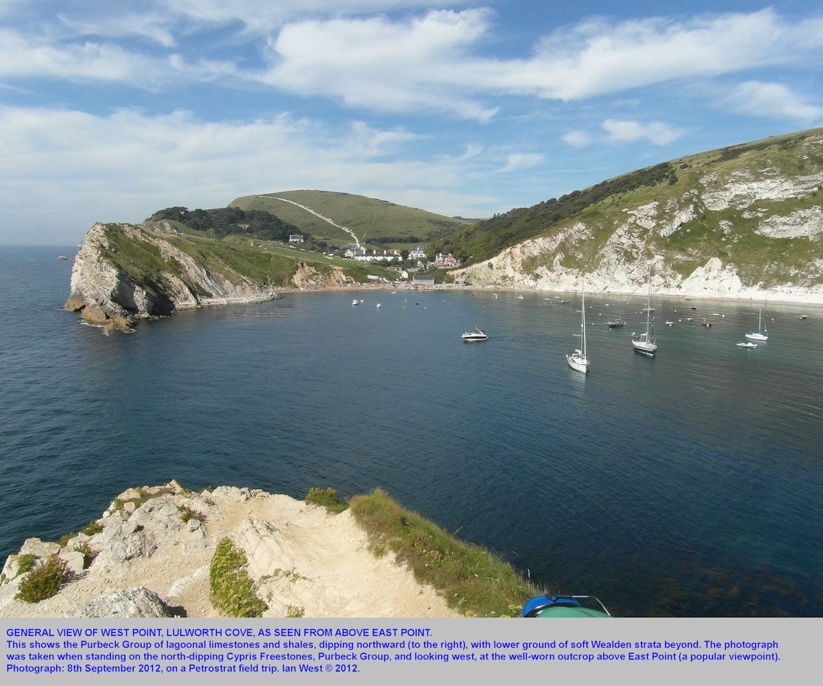 A general overview of West Point, Lulworth Cove, Dorset, in relation to the general western cove, 8th September 2012