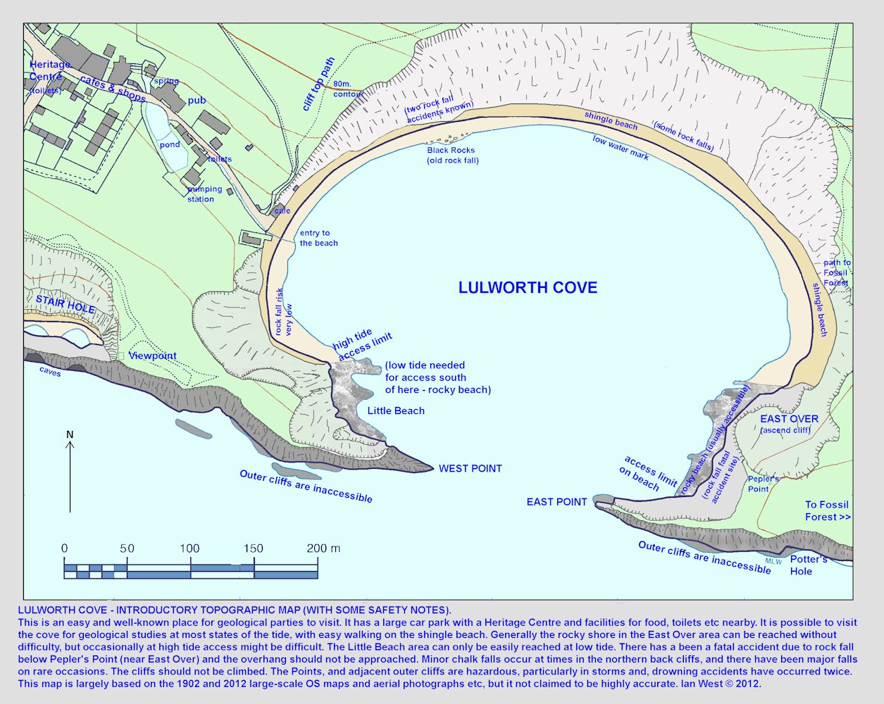 A large topographic map of Lulworth Cove, Dorset, with some safety notes