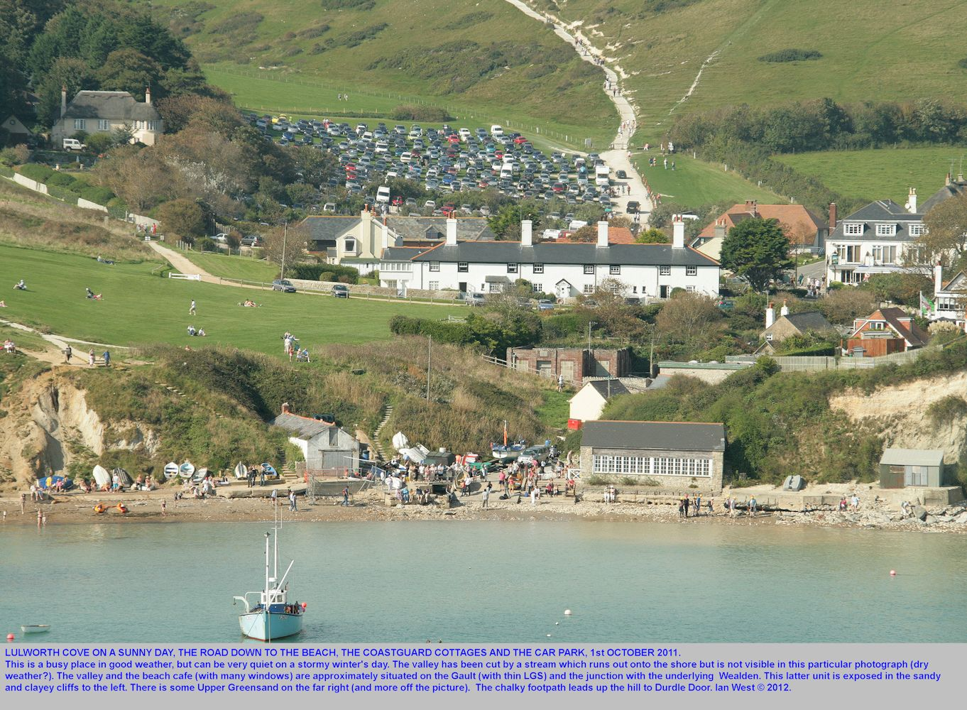 The beach where the road comes down to Lulworth Cove, Dorset, from the car park, as seen on 1st October 2011