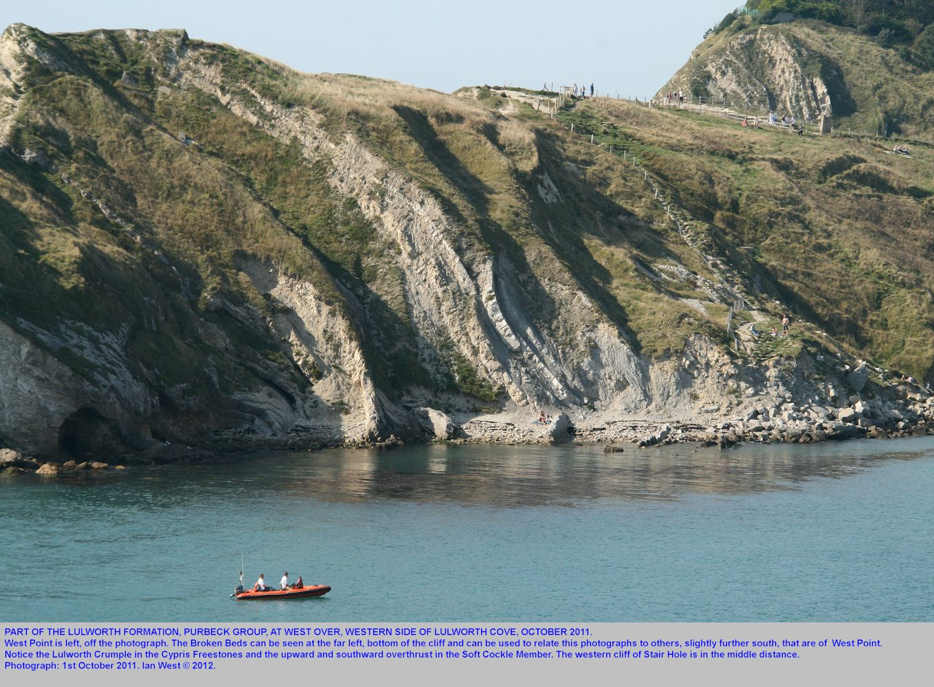 West Over, just north of West Point, Lulworth Cove, Dorset, cliff exposure, October 2011