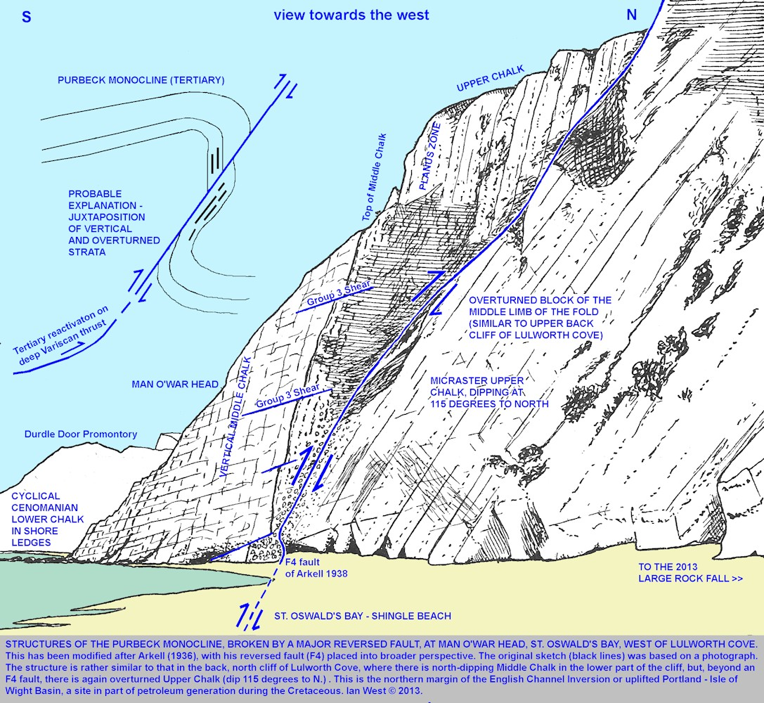 The fault structure at Man O'War Head, a the the western end of St. Oswald's Bay, with a probable explanation shown, near Lulworth Cove, Dorset, modified after Arkell (1938)