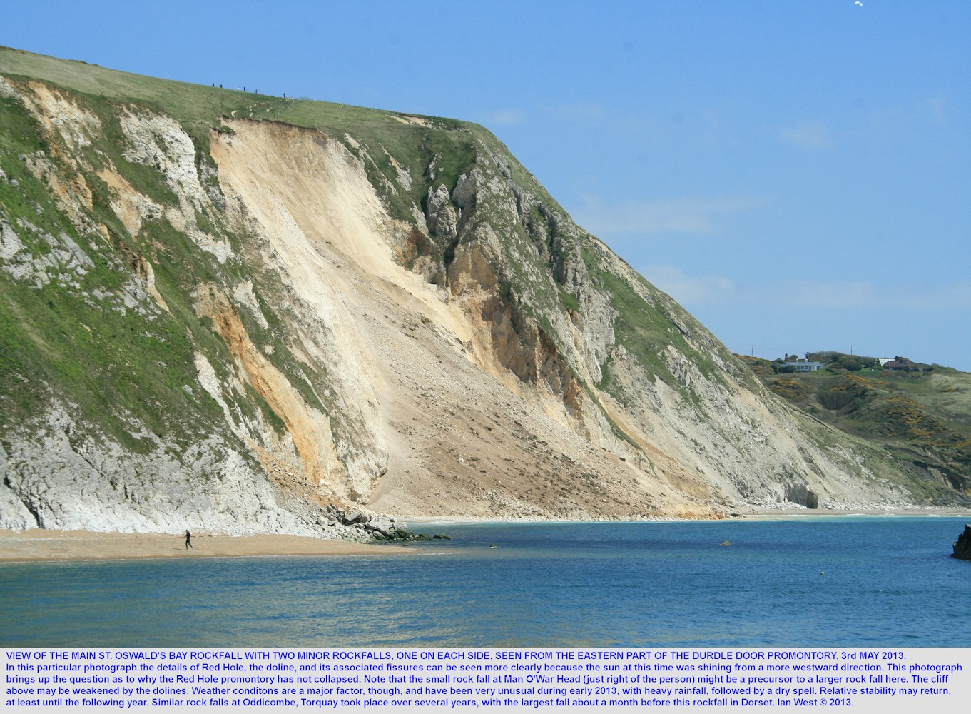 The Chalk rockfall at St. Oswald's Bay, seen from the eastern part of the Durdle Door promontory, near Lulworth Cove, Dorset, 3rd May 2013