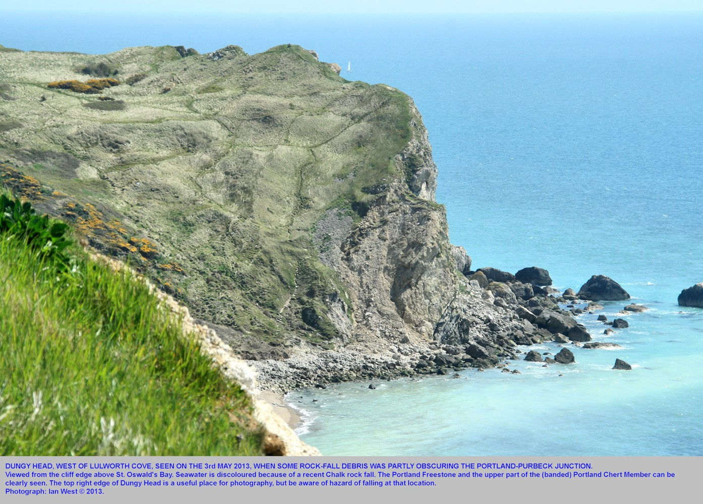 A general view of Dungy Head, from above St. Oswald's Bay, west of Lulworth Cove, Dorset, 3rd May 2013