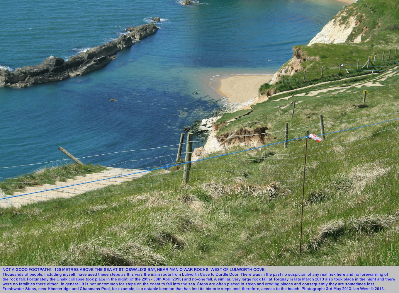 Steps to nowhere at the top of the Chalk rock fall, at St. Oswald's Bay, west of Lulworth Cove, Dorset, 3rd May 2013