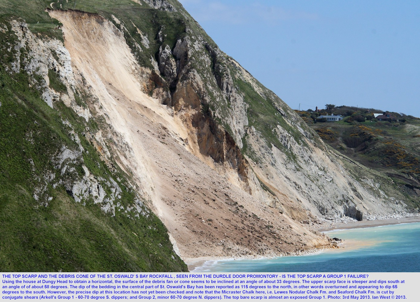 The Chalk Rockfall of St. Oswald's Bay, west of Lulworth Cove, Dorset, showing the angles of the top scarp and the debris cone, 3rd May 2013