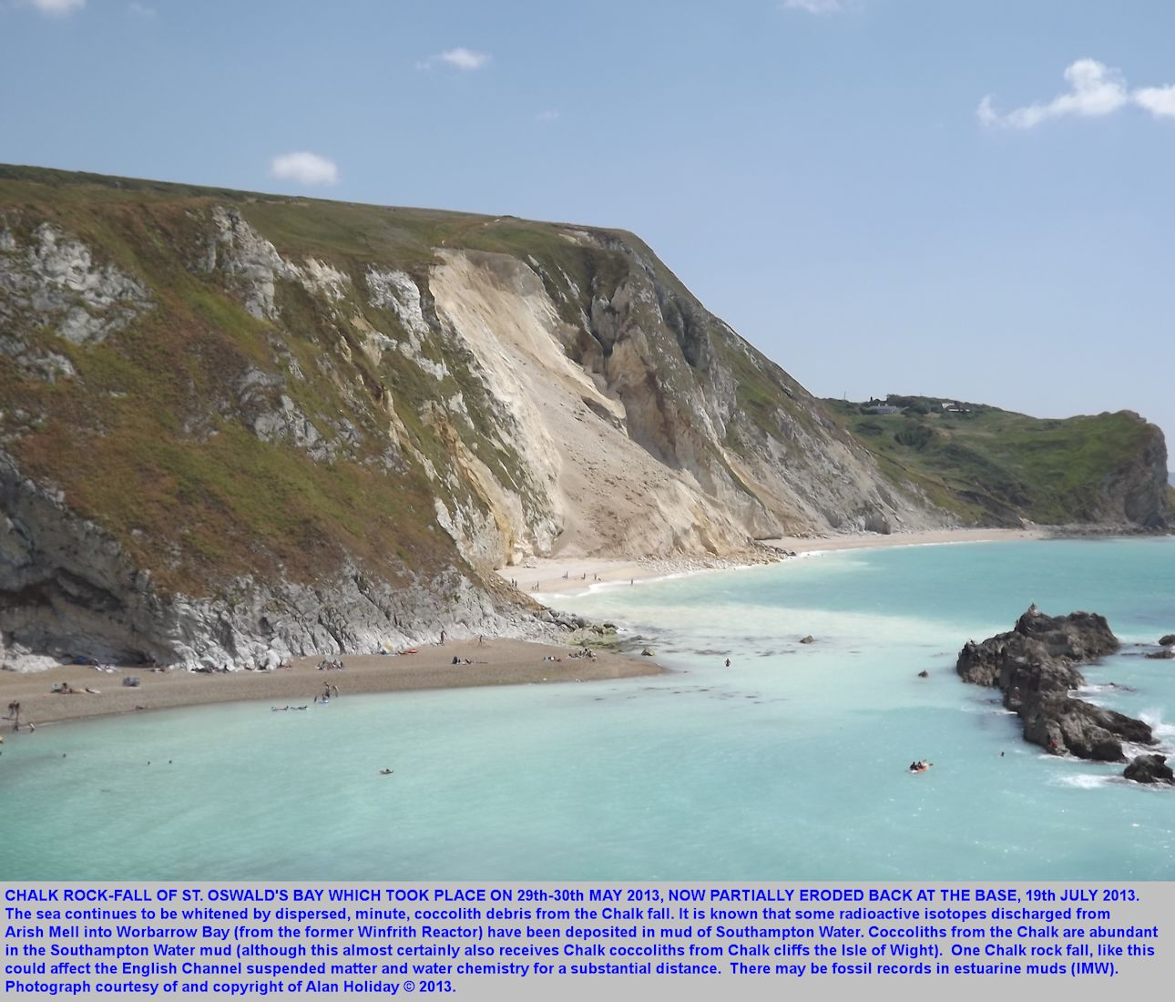 The St. Oswald's Bay Chalk rockfall seen later, on 19th July 2013, west of Lulworth Cove, Dorset