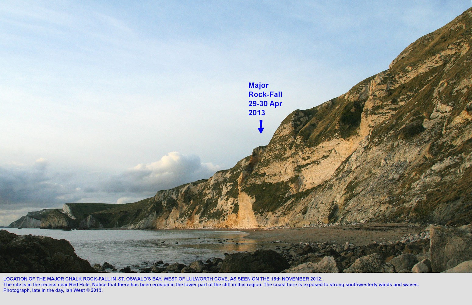 The Chalk cliffs of St. Ostwald's Bay in November 2012, before the 2013 major rockfall, near Lulworth Cove, Dorset