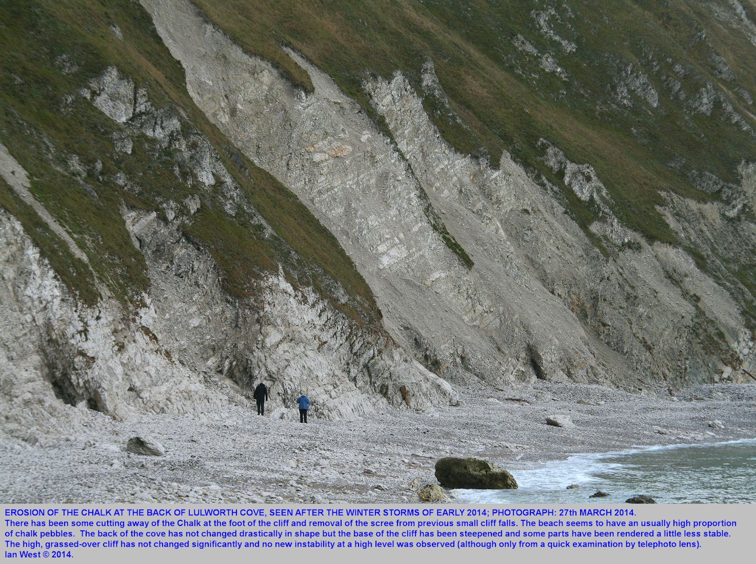 Part of the back Chalk cliff of Lulworth Cove, Dorset, see on the 27th March 2014, after severe winter storms in January and February 2014