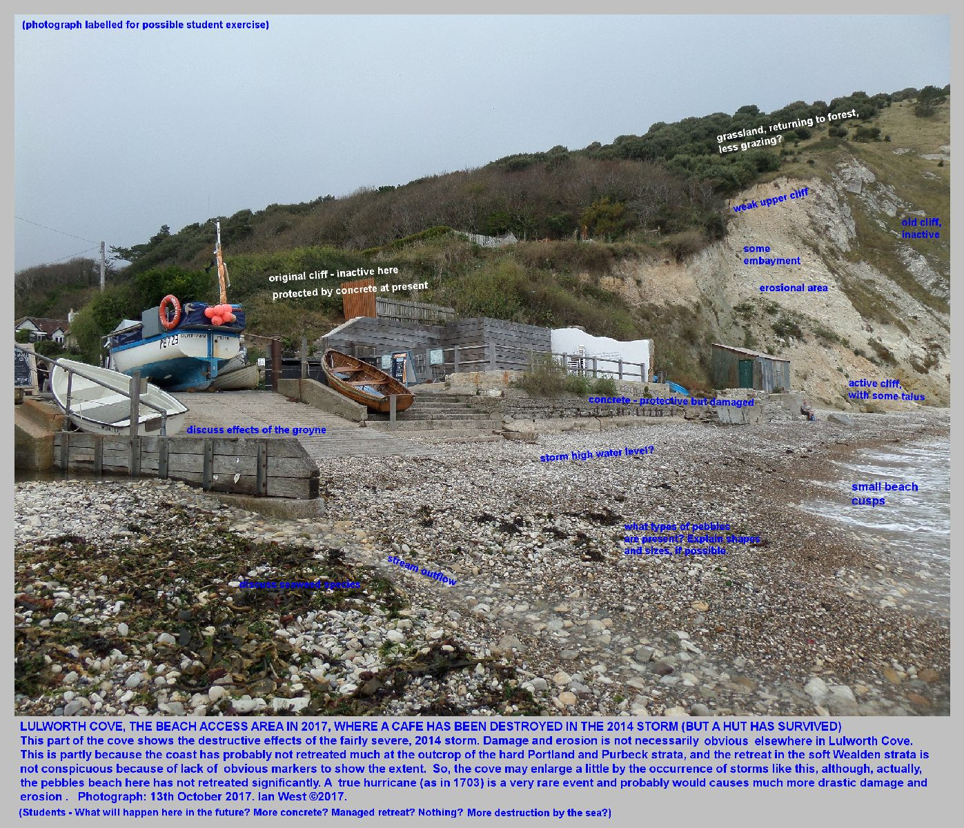 The eroded and damaged, access point to tbe beach at Lulworth Cove, Dorset, with notes for students or for student exercises, 13th October 2017