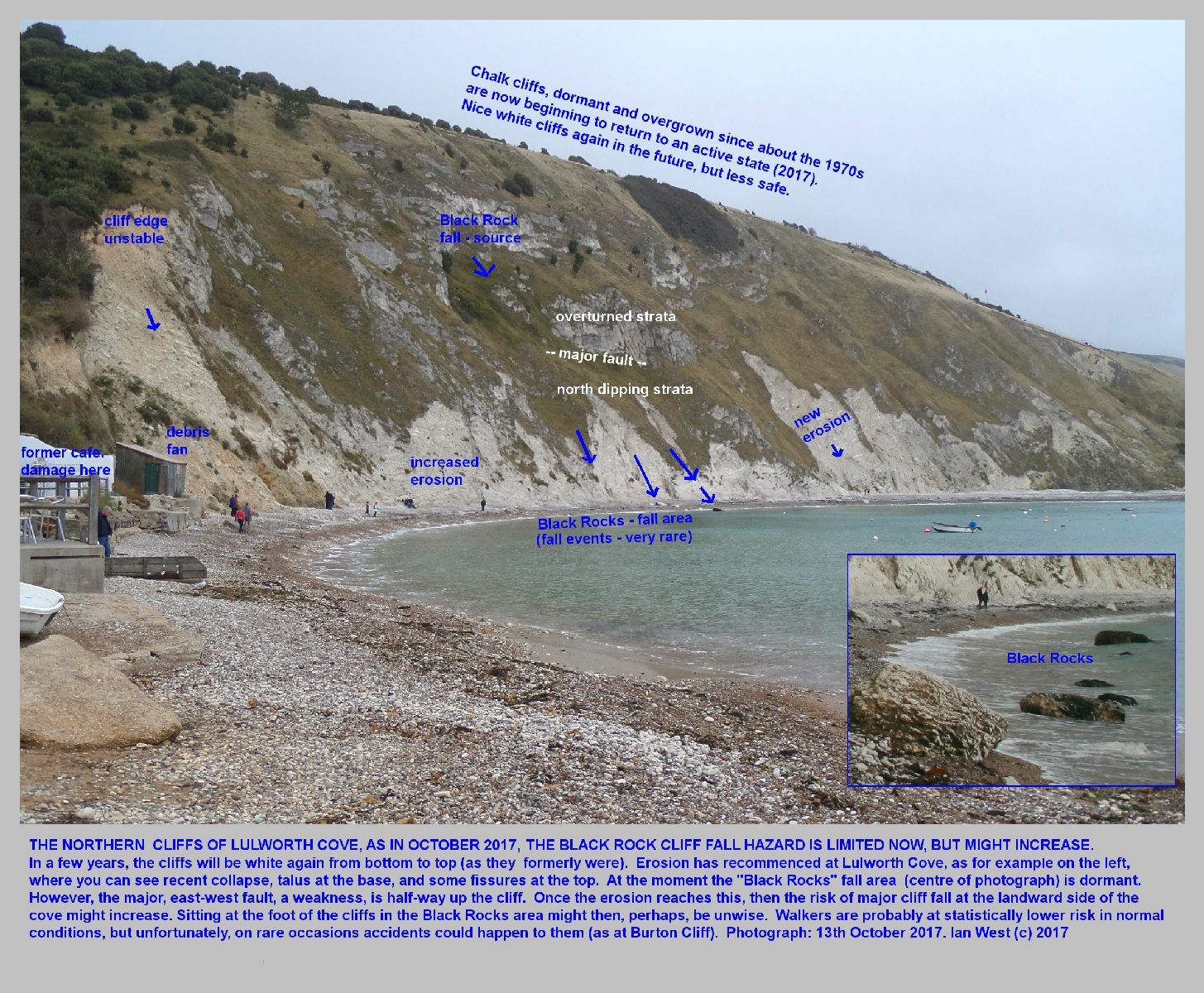 The Chalk cliffs at the back of Lulworth Cove, Dorset, as seen in October 2017, and showing increased erosion in the lower part of the cliff