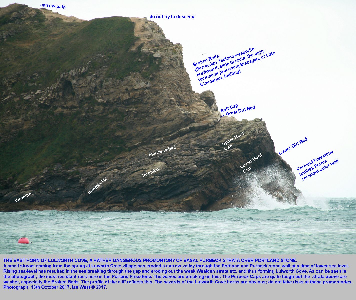 The East Horn of Lulworth Cove, Dorset, showing Purbeck Caps and Broken Beds above Portland Stone, 13th October, 2017
