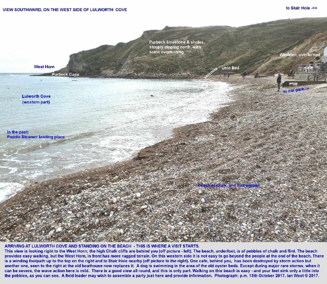 On the Lulworth Cove beach, near the access road and the cafe, looking at the western side of the cove and the West Horn, Dorset, 13th October 2017