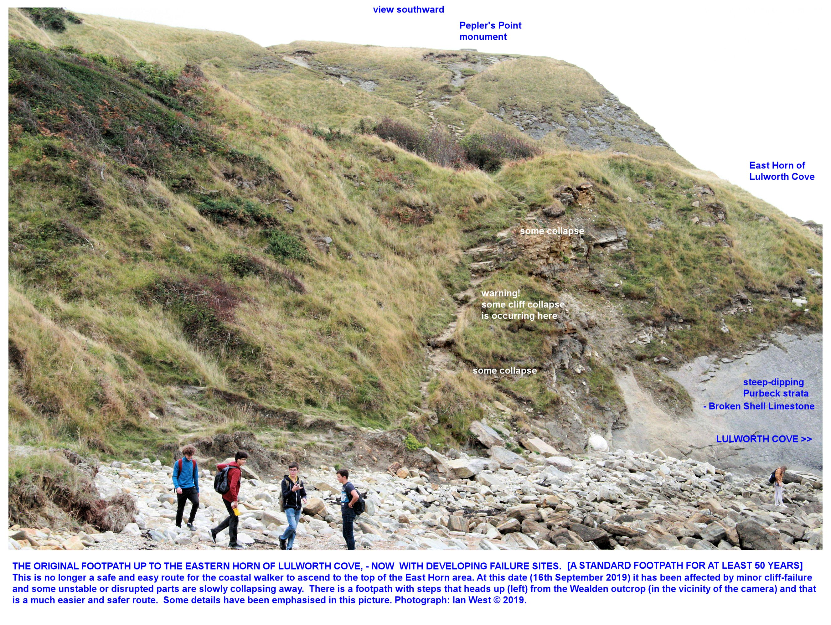 Incipient collapse of the footpath up East Over, Lulworth Cove, Dorset, 16th September 2019