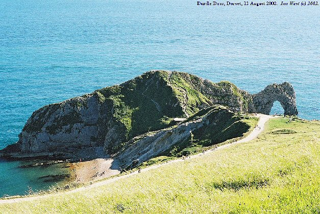 Durdle Door - a natural arch in Portland and Purbeck limestone, Dorset, England - whole promontory from the Chalk hill
