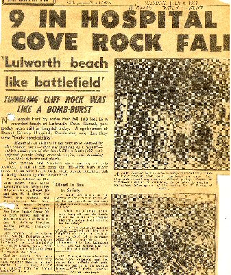 Accident at Black Rocks, Lulworth Cove, Dorset in July 1957