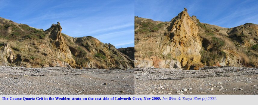 Two views of the Coarse Quartz Grit, Wealden Group, Lulworth Cove, Dorset