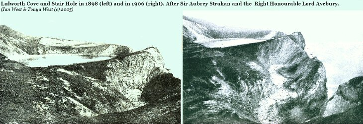 Lulworth Cove, Dorset, in 1898 and 1902, after Strahan and Lord Avebury