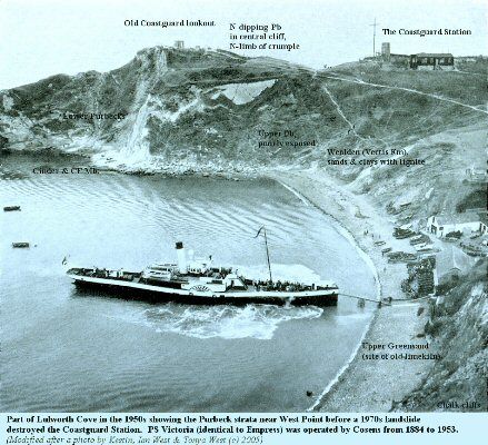 Lulworth Cove, Dorset in the early 1950s (?) with Paddle Steamer Victoria, seen from above