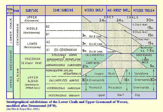 Upper Greensand  and basal Cenomanian - stratigraphy and zones for the Wessex area, England