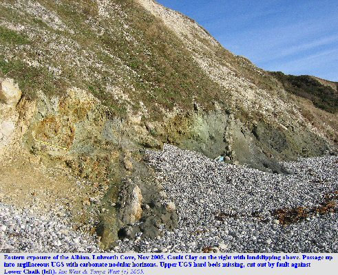 General view of the eastern exposure of the Albian, Gault and Upper Greensand, Lulworth Cove, Dorset, England