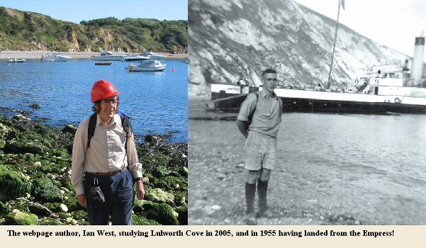 Webpage author, Ian West at Lulworth Cove, Dorset in 2005, and 1953 with paddle steamer Empress