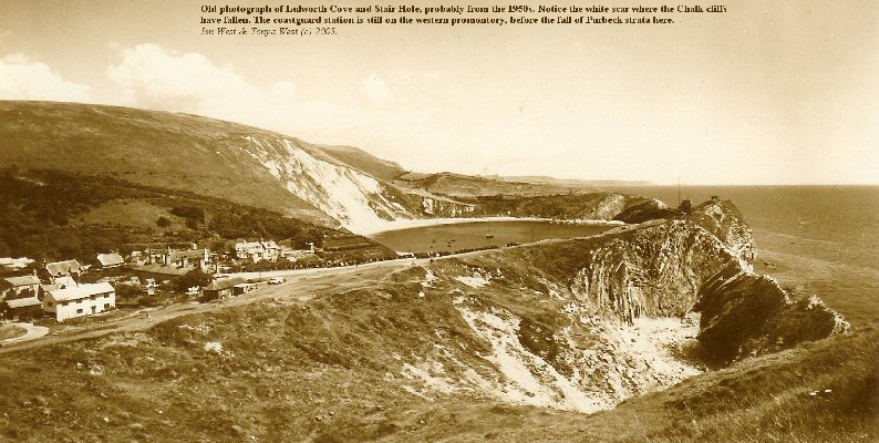 Old picture of Lulworth Cove, Dorset, probably from the 1950s, and showing a major Chalk cliff fall towards the north-east of the Cove