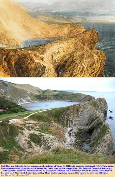 Comparison of a painting by Turner in about 1811 of Stair Hole and Lulworth Cove, Dorset, and a modern photograph