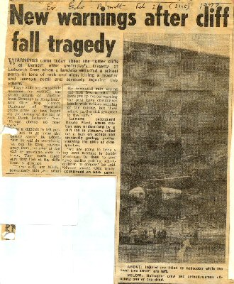 Cliff-fall accident at the southeast corner of Lulworth Cove, Dorset in 1977