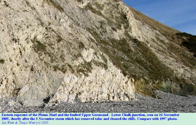 The Plenus Marl and the Upper Greensand - Lower Chalk junction at the eastern outcrop of the back of Lulworth Cove, Dorset, seen on 14 Nov 2005 after the storm of 3 Nov 2005.