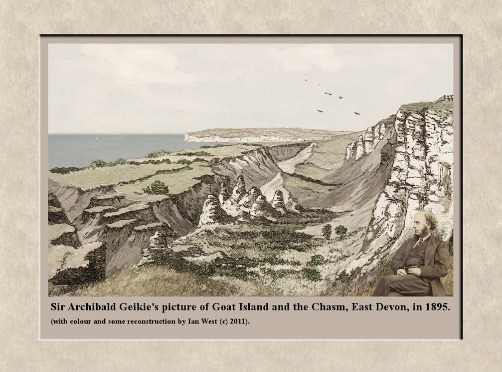 The Bindon-Dowlands Landslip in 1885, based on Geikie