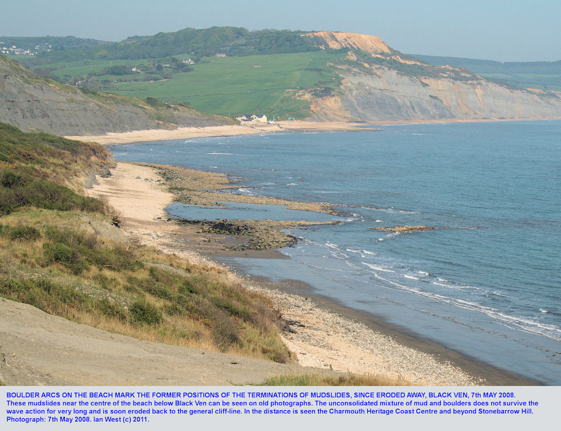 Boulder arcs are relics of the terminations of former mudslides, and the examples seen here are at Black Ven beach, between Lyme Regis and Charmouth, Dorset, in 2008