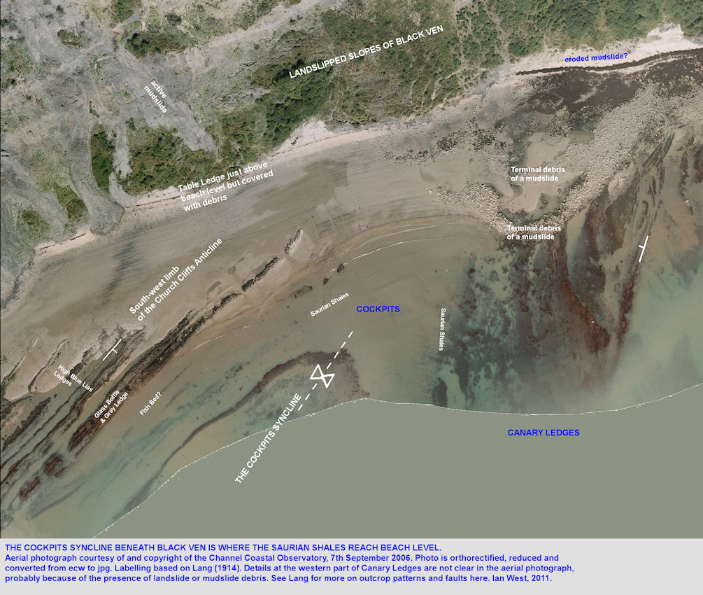 The Cockpit Syncline seen on the shore adjacent to Canary Ledges, Black Ven, Lyme Regis, Dorset, Channel Coastal Observatory aerial photograph, 2006