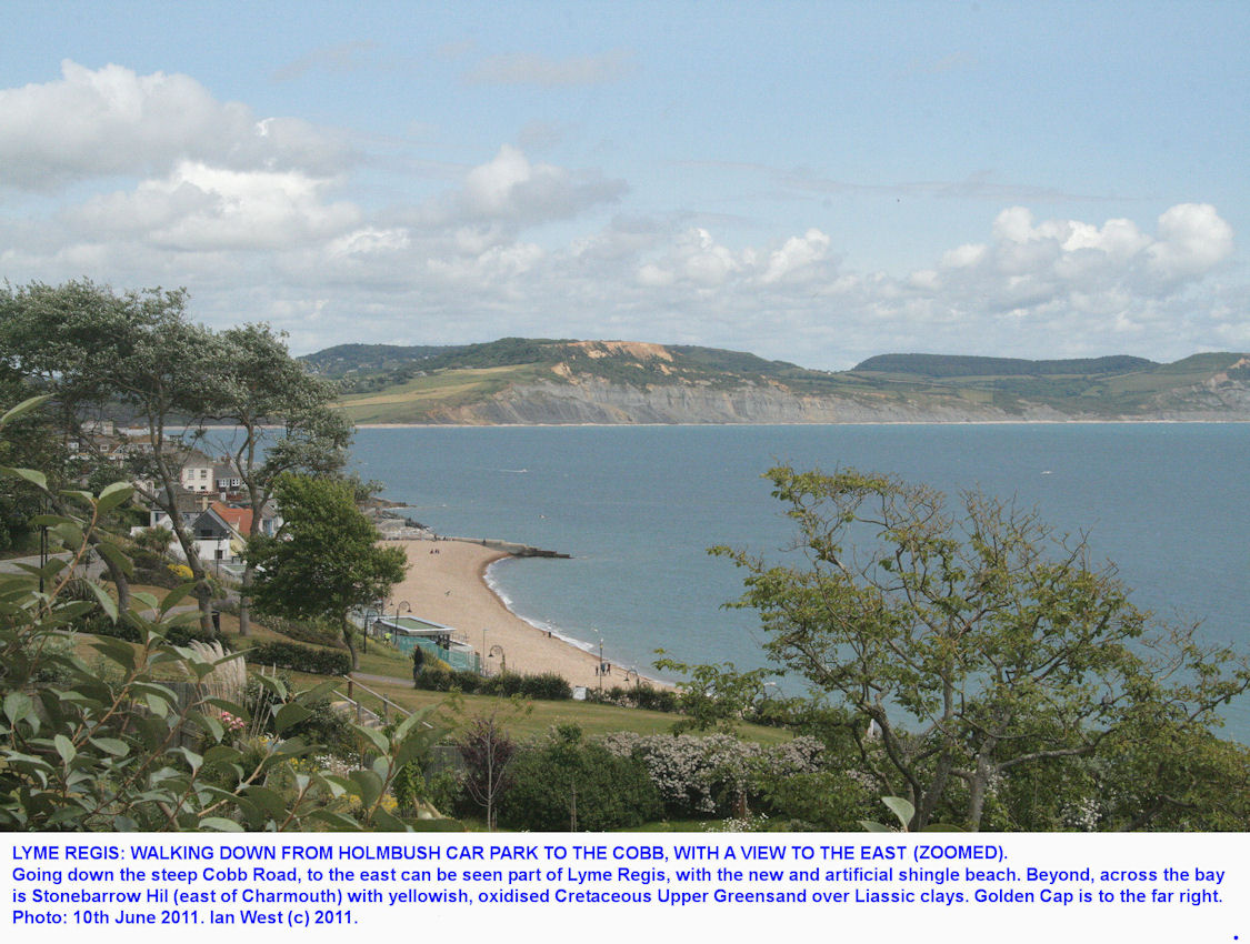 View to the east, zoomed, seen when walking down Cobb Road, at Lyme Regis, Dorset, 2011