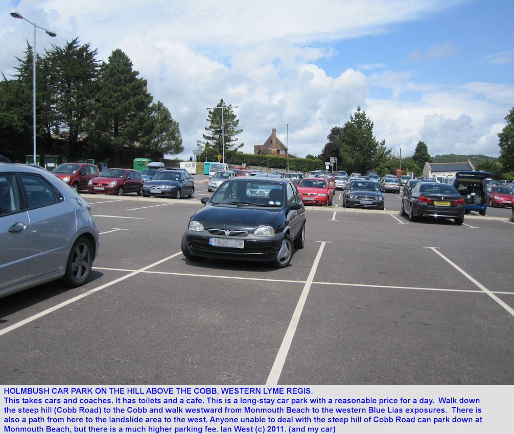 Holmbush Car Park at the Cobb Road turning on the hill above the Cobb, Lyme Regis, Dorset, 2011