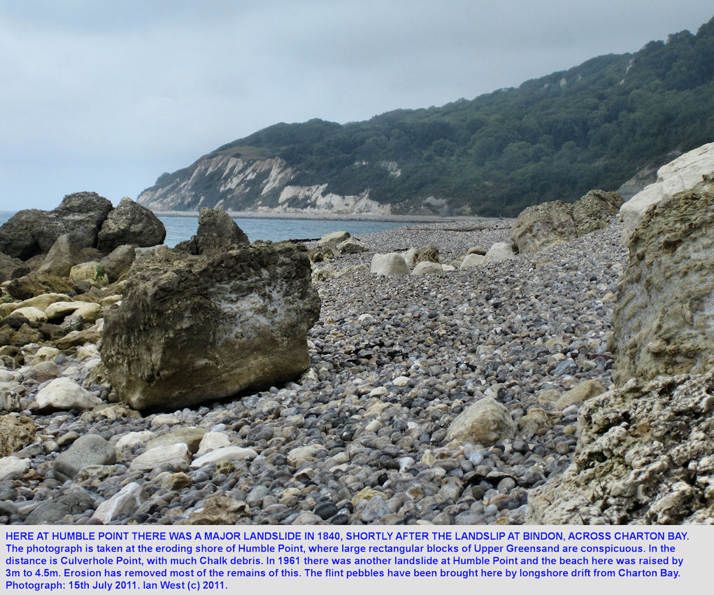 Humble Point, with a view to Culverhole Point, across Charton Bay, west of Lyme Regis, July 2011