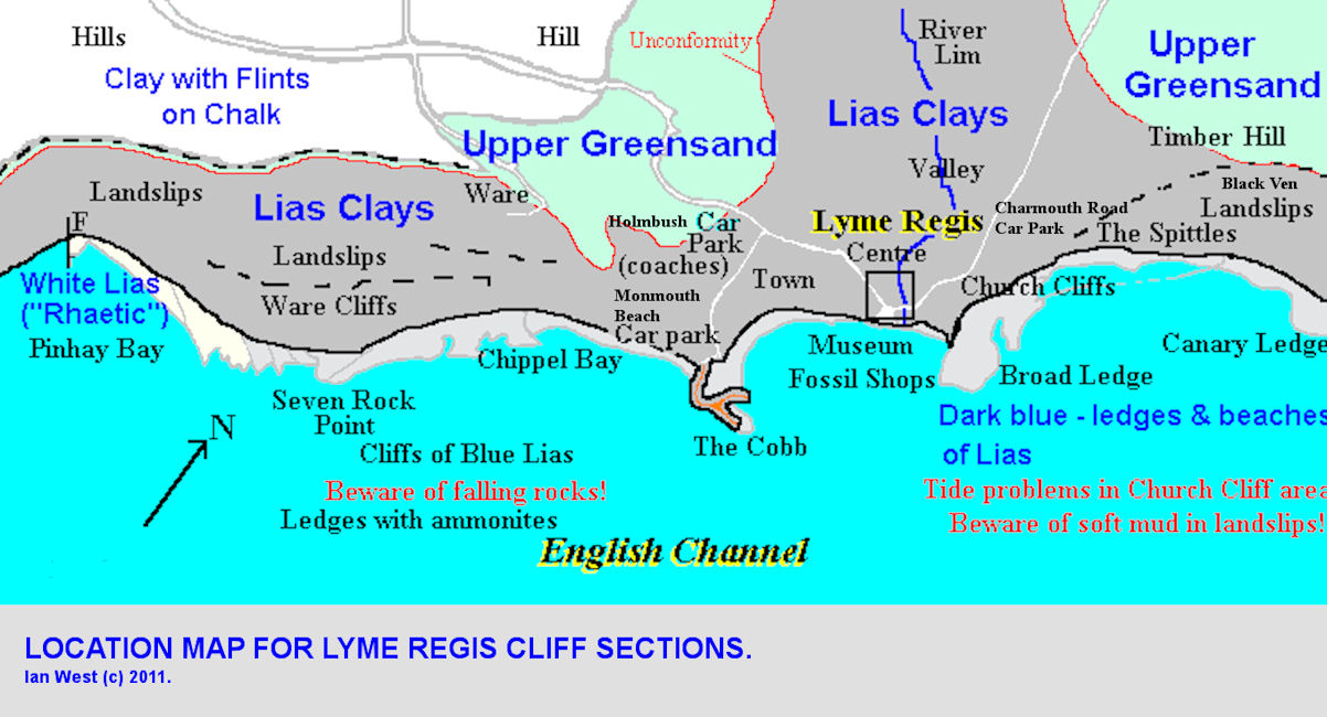 Location map for geological cliff exposures around Lyme Regis, Dorset