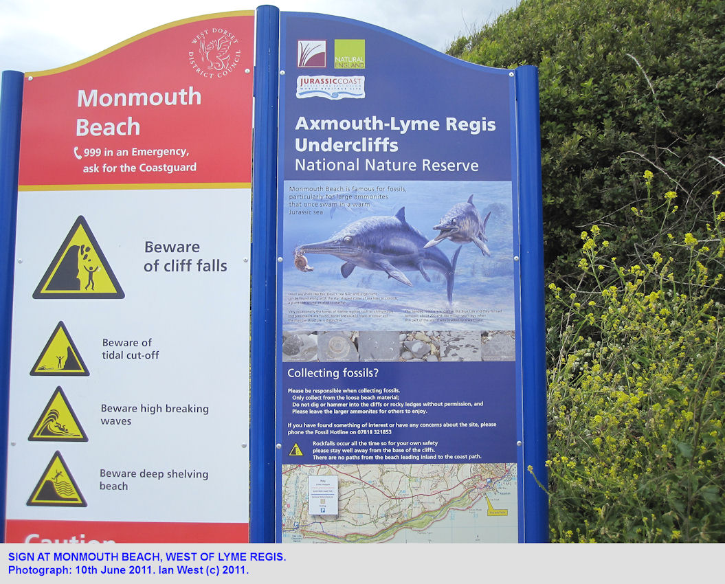 A sign regarding the Undercliff National Nature Reserve at Monmouth Beach, Lyme Regis, Dorset, 2011