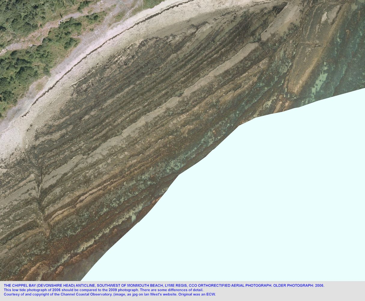 CCO aerial photograph showing details of the Chippel Bay (Devonshire Head) Anticline, near Monmouth Beach, Lyme Regis, Dorset, in 2006