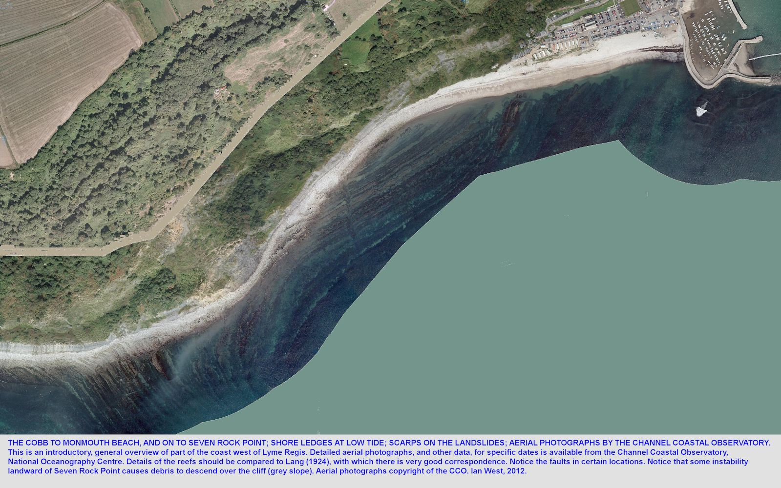 The Blue Lias ledges and cliffs at Ware Cliffs west of Lyme Regis, Dorset, from the Cobb to Seven Rock Point, aerial photographs of the CCO