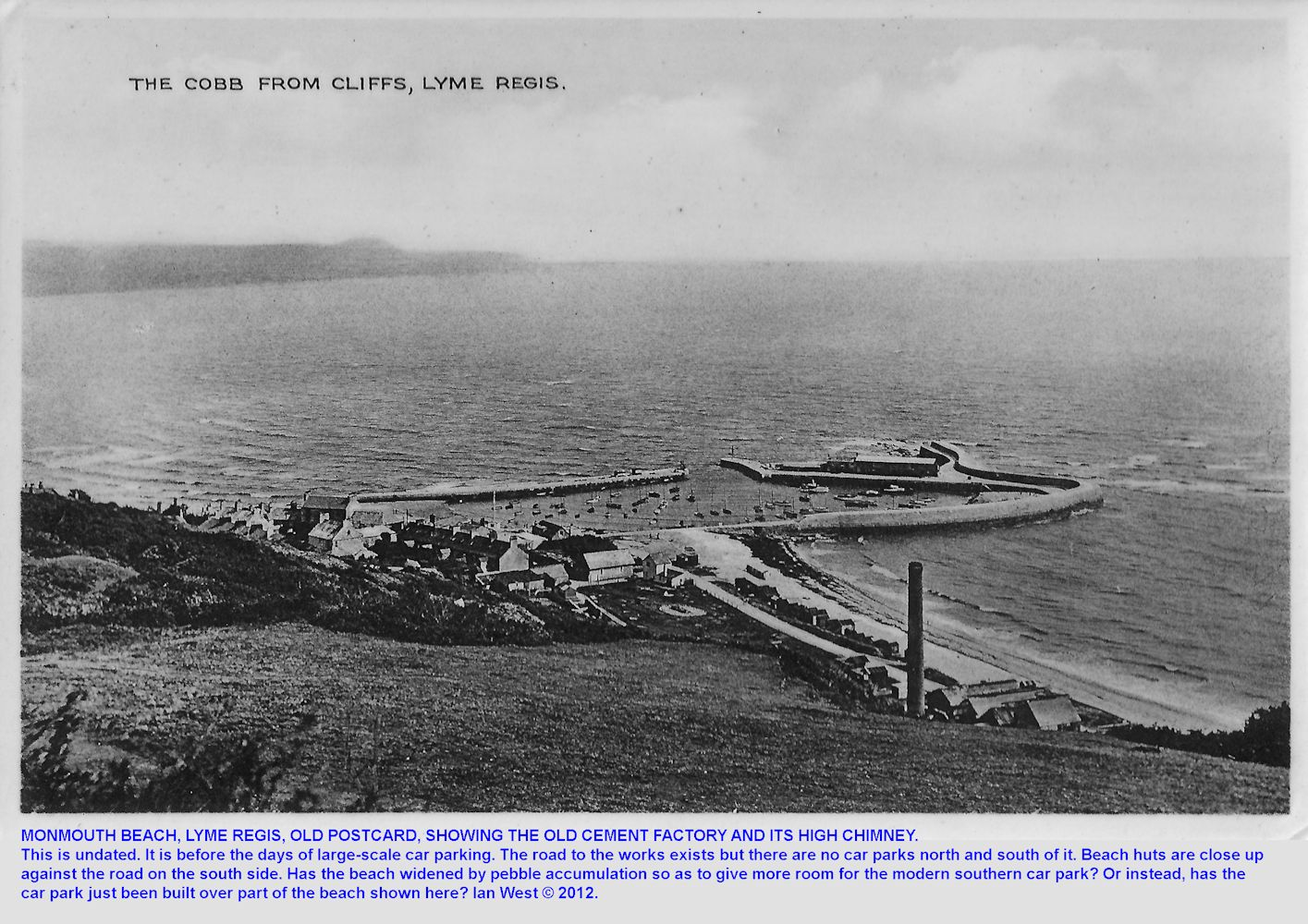 Old postcard showing the cement factory and its high chimney at Monmouth Beach, Lyme Regis, Dorset, undated