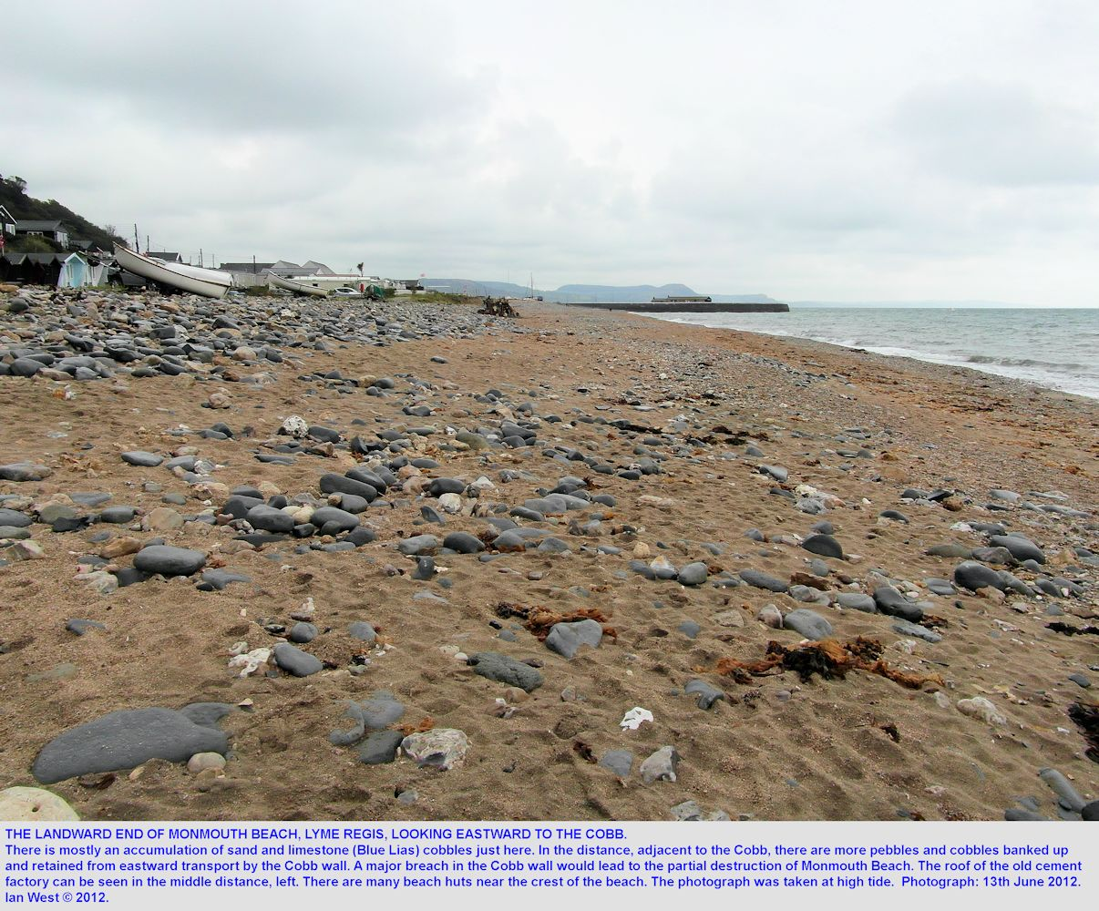 A view eastward of Monmouth Beach looking towards the Cobb, Lyme Regis, Dorset, 13th June 2012