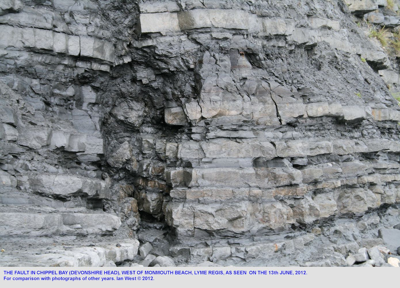 The fault near the eastern end of Ware Cliffs, Devonshire Head, west of Lyme Regis, Dorset, as seen on 13th June 2012