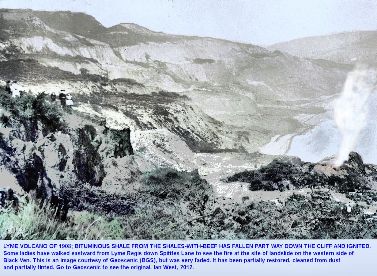 The Lyme Volcano at the Spittles, Black Ven, Lyme Regis, Dorset, 1908