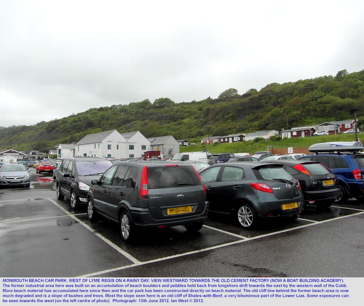 The car park at Monmouth Beach and the old cement factory, both constructed on beach boulders and pebbles held back by the western wall of the Cobb, Lyme Regis, Dorset