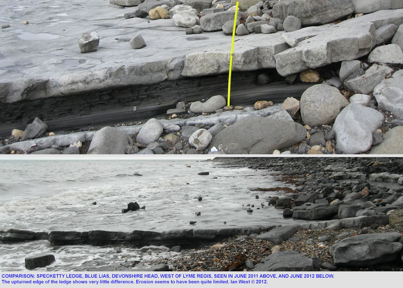Comparison of Specketty Ledge, Devonshire Head, in June 2011 and June 2012, west of Lyme Regis, Dorset