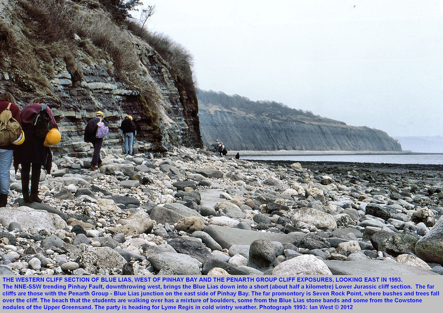 Blue Lias cliffs west of Pinhay Bay, west of Lyme Regis, Dorset, in 1993